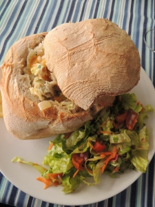 Bacalhau served in Bread at Tasquinha da Ti-Alcinda