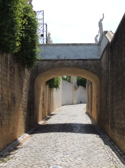 Road under the entrance to garden