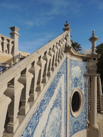 Stairs to the lower terrace