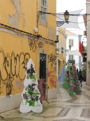 Christmas graffiti and trees
