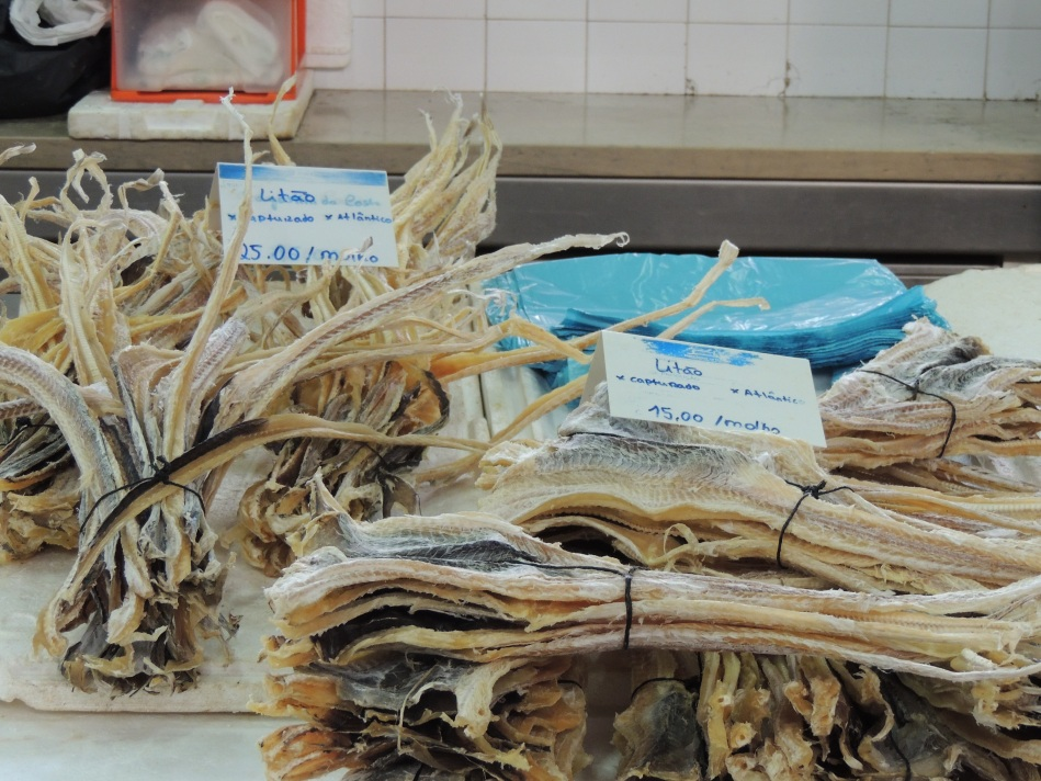 Dried dogfish for sale in the market