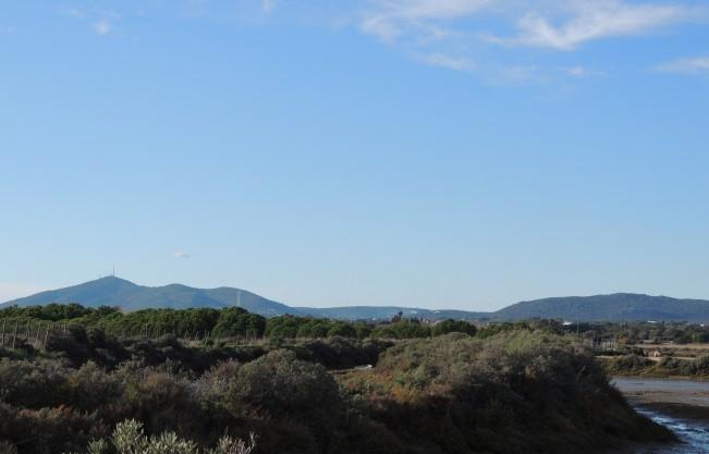 Ria Formosa with the Algarvian hills behind