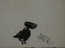 Street art watching you