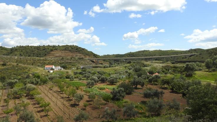Valley bridge with agriculture below