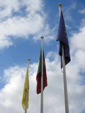 Flags outside townhall