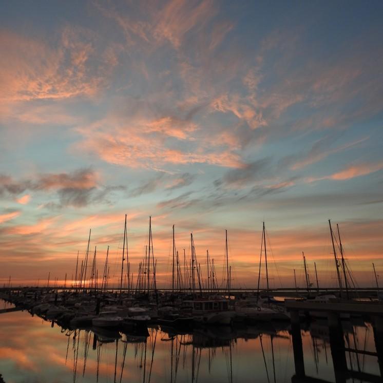 Boat lines at sunrise